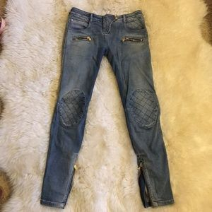 Authentic women's Balmain Quilted Patch Jeans 40